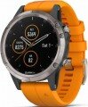 Garmin Fenix 5 Plus Sapphire Titanium with Solar Flare Orange Band resim